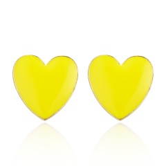 Fashion Korean love peach heart drip oil stud earrings ear studs yellow