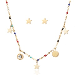 Cute Tricolor Hollow Cat Bee Animal Jewelry Set Stainless Steel Endless 8 Star Animal Cross Heart Pendant Necklace Earrings Set Star