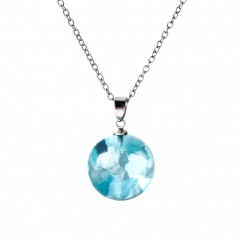 Blue Sky White Clouds Transparent Spherical Resin Pendant Necklace style 1