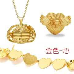 Valentine Magic Photo Pendant Memory Opened Locket Necklace Gift Family Lover Pet Photo Frames Heart Round Angel Wing Necklace gold