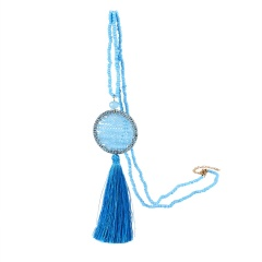 Vintage Long Beaded Chain Boho Tassel Pendant Necklace Women Sweater Chain Clothing Accessories Handmade Dream Catcher Necklace blue