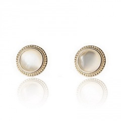 2019 Japan New Vintage Round Marble Opal Stone Big Stud Earrings For Women Fashion Temperament Simulated Pearl Brinco Opal