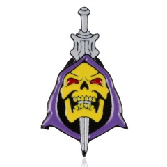 heart crutch sword round purple turban skull king alloy painting small brooch badge sword