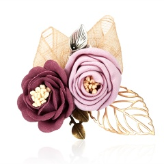 Triple Colorful Fabric Rose Flower Bow Rhinestone Crystal  Pin Pearl Brooch Accessories For Coat Double Flower 1