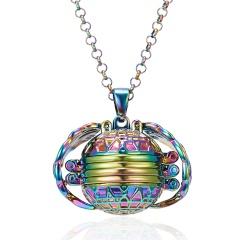 Rainbow Magic 8 Photos Pendant Memory Floating Locket Necklace Angel Wings Flash Box Fashion Can Open Pictures Box Necklaces Colorful
