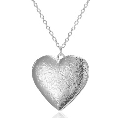 Silver Plated Carved Love Heart Shape Valentine Lover Gift Animal Photo Can Open Album Frame Box Pendant Necklace Jewelry Carved