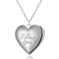 Silver Plated Carved Love Heart Shape Valentine Lover Gift Animal Photo Can Open Album Frame Box Pendant Necklace Jewelry I love you