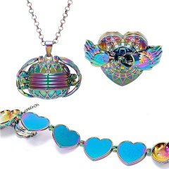 Valentine Magic Photo Pendant Memory Opened Locket Necklace Gift Family Lover Pet Photo Frames Heart Round Angel Wing Necklace Colorful