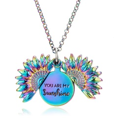 You Are My Sunshine Sunflower Mom Mother Pendant Necklace Gift Colorful