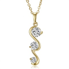 Simple Fashion Geometric Shiny Zircon Crystal Pendant Necklace Gold Color Alloy Chain Zircon Necklace