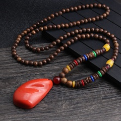Ethnic style retro long handmade beaded wooden bead necklace for men and women long sweater chain necklace necklace 1