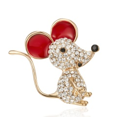 Fashion Cute Women Crystal Animal Mouse Enamel Brooch Pin Jewelry New Year Gift 6