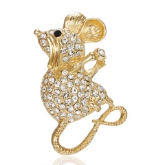 Fashion Cute Women Crystal Animal Mouse Enamel Brooch Pin Jewelry New Year Gift 5