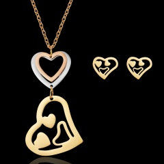 Women's triangle hollow stainless steel necklace pendant earrings jewelry set Love smiling face