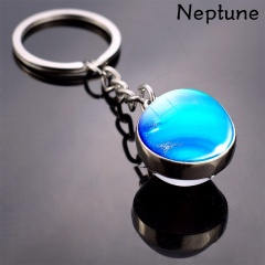 Galaxy Solar System Glow in the Dark Double Side Glass Ball Planet Keychain Ring Neptune