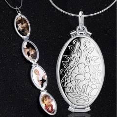 4 Photo retro silver oval pendant that opens multiple layers of photo box necklace Silver
