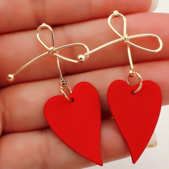 Fashion Red Heart Gold Bow Drop Earrings Women Simple Dangle Valentine Day Gift Red Heart