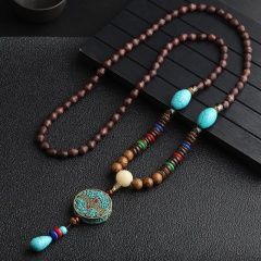 Women Retro Handmade Bohemia Tibetan Beads Pendant Necklace Long Sweater Chain Blue six words truth