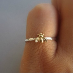Simple Tiny Gold Copper Bee Rings Hammered Band Ring Jewelry Size 7 Bee