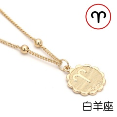 12 Zodiac Horoscope Crystal Constellation Gold Necklace Pendant Womens Jeweller Aries