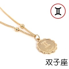 12 Zodiac Horoscope Crystal Constellation Gold Necklace Pendant Womens Jeweller Gemini