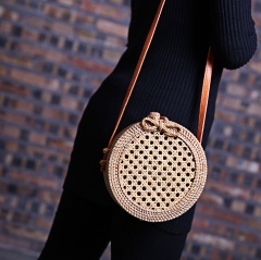Round Rattan Handmade Wicker Woven Crossbody Handbag Women Shoulder Bag 18*10cm