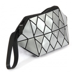 Geometric Ringer Triangle Makeup Bag Hand Bag 20.5*10.5*10.5cm Silver