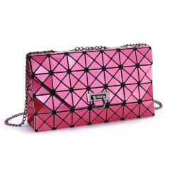 Rose Red Geometric Ringer Bag Single Shoulder Bag Diagonal Span Chain Bag Rose red