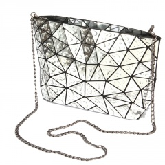 Geometric Diamond Drop Chain Shoulder Bag Crossbody Bag 28*18*7 Silver