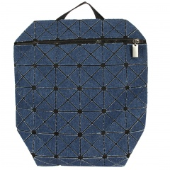 Geometric Rhombus Zipper Backpack 38*32.5cm navy blue
