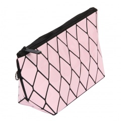 Geometric Ringer Makeup Bag Zipper Clutch Bag 24*12*8cm Pink