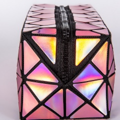 Geometric Diamond Laser Zipper Clutch Bag 19.5*8.5*8.5cm Purple