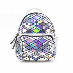 The Silver Geometric Diamond Backpack Holds The Traveling Student Backpack 27.5*21.5*11.5cm Rhombus