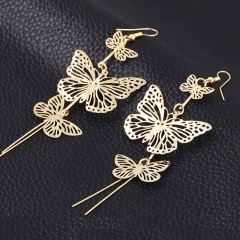 Multi-layer Gold Tassel Butterflys Hollow Earrings Dangle Drop Women Jewelry Gold