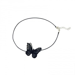 White Butterfly Necklace Pendant Clavicle Chain Sweet Women Girls Jewelry Charm Black
