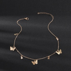 Chic Butterfly Star Tassel Silver Pendant Choker Necklace Clavicle Chain Women Gold