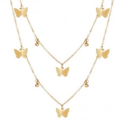 Fashion Crystal Tassel Pendant Butterfly Necklace Gold Chain Clavicle Choker NEW 2 Row