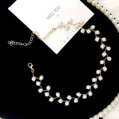 Korean Fashion Pearl Crystal Beads Choker Necklace Wholesale gold-pearl