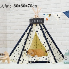 Star Print Canvas Kennel Cat Litter Pet Tent Removable And Washable Large