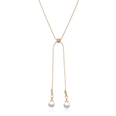 Women Pearl Wheat Pendant Necklace Clavicle Choker Adjustable Long Chain Jewelry Gold