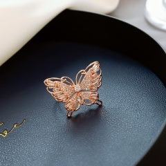 Exaggerated Bow Butterfly Adjustable Finger Rings Rhinestone Party Jewelry New Gold