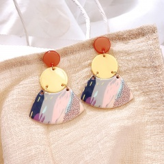 Fashion Contrast Acrylic Colorful Earrings Stud Round Dangle Women Party G Merchant goods number Style 1