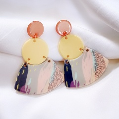 S925 Simple Scalloped Earrings Circle Colorful Acrylic Earrings Summer Temperament Korean Wild Jewelry Yellow