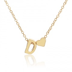 Fashion 26 Letter with Heart Pendant Necklace Gold Chain Short Alloy Necklace Jewelry Gift D