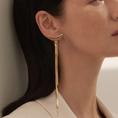 Long tassel chain stud earrings Gold