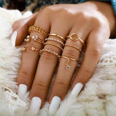 8 sets of geometric rhinestone knuckle rings Alloy