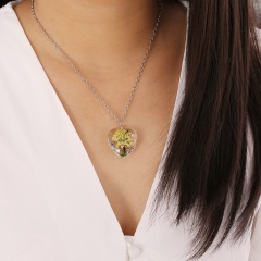 Natural Dried Real Flower Life TreeHeart Glass Locket Pendant Necklace Jewelry Yellow