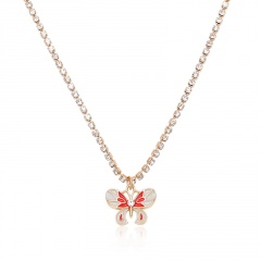 Fashion Butterfly Pendant Necklace Crystal Claw Chain Clavicle Choker Collar NEW Red