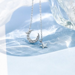 Fashion Moon With Star Charm Clavicle Chain Necklace Jewelry Gift Silver