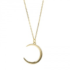 Simple Moon Silver/Gold Pendant Necklace Choker Clavicle Chain Lady Jewelry Gift Gold
